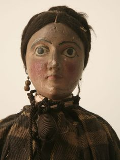 Antique English Wooden Maiden Doll