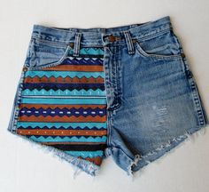 Items similar to High waisted jean shorts Aztec hand painted made to order on Etsy Distressed High Waisted Shorts, Ripped Jean Shorts, Denim Cutoff Shorts, Waisted Denim, Painted Shorts, Painted Jeans, Hand Painted, Diy Shorts, Cut Off Jeans