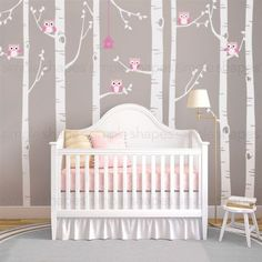 Customized birch tree with owl decals for your baby nursery! The owls and leaves can go anywhere on the tree. Arrange them any way you like. This set includes seven birch tree wall decals, six owls an