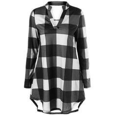 Split Neck Long Plaid Boyfriend T Shirt (285 MXN) ❤ liked on Polyvore featuring tops, t-shirts, rosegal, shirts, dresses, plaid, boyfriend tee, split neck t shirt, tartan shirt and long length t shirts