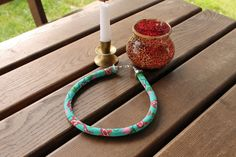 Rope necklace carp in red colorful pattern beaded by Daidija