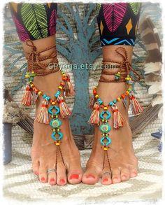 f8c3486d Pies descalzos Pocahontas sandalias tribales borla flecos Botas Marrones,  Tobilleras, Sandalias, Pies Descalzos