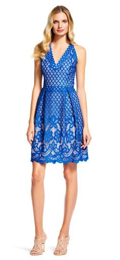 Adrianna Papell | Embroidered Floral Lace Dress with V-Neck