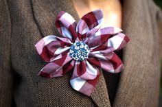 Purple plaid flower pin