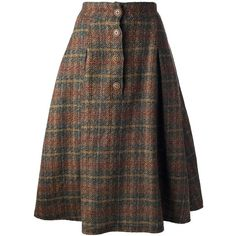 KRIZIA VINTAGE checked a-line skirt ($107) ❤ liked on Polyvore featuring skirts, bottoms, vintage skirts, brown a line skirt, high waisted skirts, high waisted knee length skirt and button front skirt