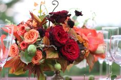 autumn centerpiece with roses