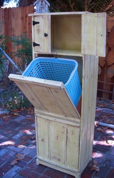 Wooden Furniture - Handmade - Laundry Hamper - Trash Bin Recycling - Eco Chic - Storage Solution