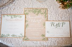 Organic Olive Leaf Wedding Invitation Suite by Julia's Poppies #Stationery