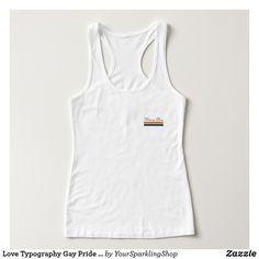 Love Typography Gay Pride LGBT Rainbow Flag