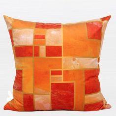 "Orange Geometry Digital Printing Flannel Pillow 20""X20"""