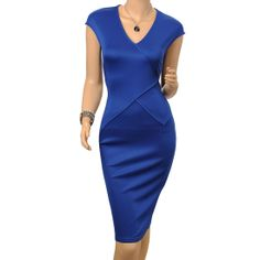 Womens Cap-Sleeve V-Neck Dress Bodycon Party Pencil Dress Features: Intro:Intro:V- neck, Soft and Comfortable Fabric, Party, Business Dress. Color:Blue Material: Spandex + polyester US SIZE: 4-12 www.apuremall.com