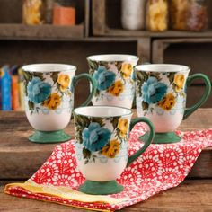 Free Shipping on orders over $35. Buy The Pioneer Woman Rose Shadow 18-Ounce Latte Mug Set, Set of 4 at Walmart.com