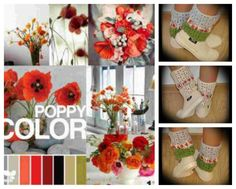 poppy red color scheme--I ADORE the arrangement on the bottom right--all the reds, oranges, bright pinks, the mix of flowers--not too tightly packed--white vase (but clear would be okay, too)