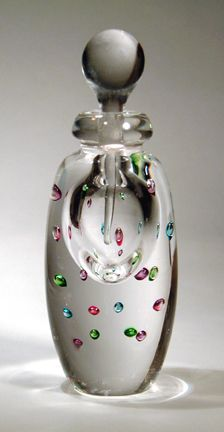Controlled Bubble hand blown perfume bottle