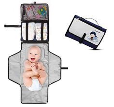 Crystal Baby Smile Portable Changing Pad - Diaper Clutch - Lightweight Travel Station Kit for Baby Diapering - Entirely Padded, Detachable and Wipeable Mat - Mesh and Zippered Pockets (Blue and Cream) Baby Shower Presents, Best Baby Shower Gifts, Free Baby Shower Printables, Cute Baby Shower Ideas, Kit Bebe, Diaper Clutch, Diaper Changing Pad, Changing Mat, Baby Smiles