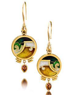 """Cloisonne Earrings """"Noche Bella"""" with Brandy Garnets  Cloisonne Enameled 22k Gold Earrings  2.25"""" x .625"""" x .125""""  $3600.00"""