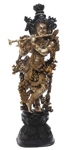 StatueStudio Brass Lord Krishna Idol Statue Religious Décor Figure This beautiful Krishna statue is a perfect addition to any home or office. Temple Design For Home, Indian Home Design, Indian Idol, Indian Art, Hindu Deities, Hinduism, India Decor, Elephant Home Decor, Hindu Statues