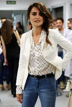 Get playful in a polka dot blouse like Penelope Cruz. Click 'Visit' to buy now. #penelopecruz #dior #spring2018 #DailyMail