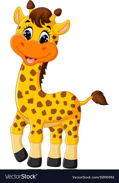 Cute giraffe cartoon vector image on VectorStock Cute Cartoon Pictures, Cute Cartoon Animals, Cartoon Pics, Cute Pictures, Cute Animals, Cute Images, Beautiful Pictures, Safari Theme, Jungle Theme