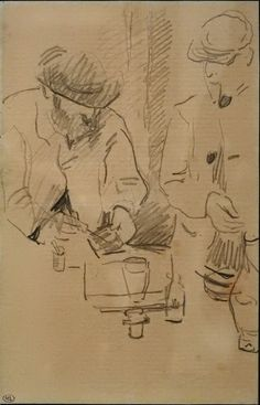 Vintage Pencil Drawing Art Portrait Paul Cézanne...