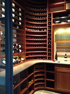 Kessick Wine Room- Transitional, contemporary design Home Wine Cellars, Wine Cellar Design, Cigar Room, Wine Storage, Wine Drinks, Cave Vin, Wine Rack, Contemporary Design, Wines
