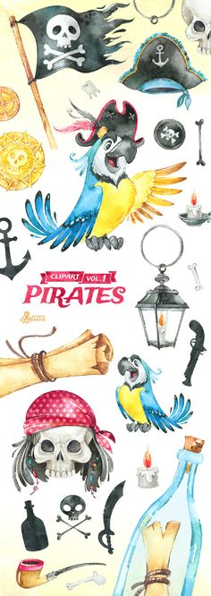 Yo-ho-ho! This set of high quality hand painted Pirates Clipart. Perfect graphic for invitations, greeting cards, wallart, posters, logo, quotes and more.  -----------------------------------------------------------------  INSTANT DOWNLOAD Once payment is cleared, you can download your files directly from your Etsy account.  -----------------------------------------------------------------  38 x Images in PNG(with transparent background) different size approx: 10 - 2 in (24-5cm), 3000…