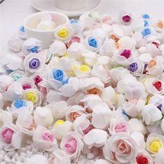 10 pcs/lot Mini PE Mousse Rose Tête De Fleur Artificielle Rose Fleurs À La Main DIY De Mariage Décoration de Fête et Articles De Fête