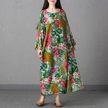 Ilstile 2017 Vintge kadın Uzun Kollu Çiçek Baskı Pamuk Keten Rahat Uzun Elbise Artı Boyutu Gevşek Elbise Boy Abaya M-XXL(China (Mainland))