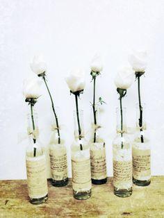 Vase,Wedding Vase,Bridal Shower,Wedding Decor,French Country Wedding,Flower Vase,Glass Bottle,Shabby Chic Wedding. $9.00, via Etsy.