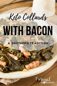 Keto Collards with Bacon, a delicious southern tradition and makes a terrific holiday side dish! Low in carbs and high in antioxidants, this creamy dish is a tradition you won't want to skip (or wait for the holidays to roll back around). Christmas Cooking, Christmas Recipes, Family Meals, Frugal Family, Family Recipes, Gf Recipes, Real Food Recipes, Healthy Cooking, Healthy Dinner Recipes