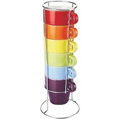 #Colours 6 piece #stacking mug set with #stand cups tea coffee mugs,  View more on the LINK: 	http://www.zeppy.io/product/gb/2/141679802096/