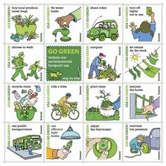 2011 Go Green Sheet pane of 16 (Forever) US Stamps .: Go Green 16 x Forever us Postage Stamps Scot # 4524 Go Green, Green Life, Green Art, Eco Friendly Cleaning Products, Commemorative Stamps, Sell Stamps, Forever Green, Green Living Tips, Produce Bags