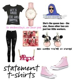 """""""Mean Girls Statement"""" by readingnerd513 ❤ liked on Polyvore featuring GRETCHEN, Converse and Topshop"""