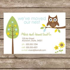 Printable Forest Owl Change of Address Card - Digital File