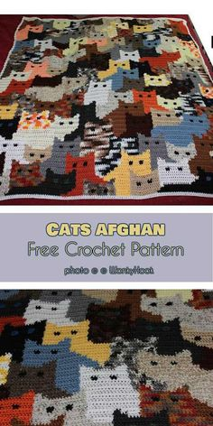 Cats Afghan by Sandra Miller Maxfield will bring the attention of every kid and cat lover around. This blanket will also be an eye-catching addition to any children room. Cute and multicolor cats will be also a perfect idea for the baby blanket or stroller blanket for spring. #freecrochetpatterns #catlovers #crochetblanket