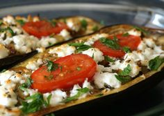 Roasted Eggplant with Feta and Tomato - An easy vegetarian entree or side dish with fresh eggplant paired with sweet tomatoes and salty melted feta cheese.