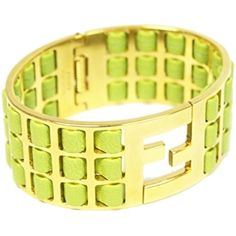 Pre-owned Fendi Green Lamb Leather Gold Metal Bracelet ($425) ❤ liked on Polyvore featuring jewelry, bracelets, accessories, green, green bangles, fendi, fendi jewelry, fendi bangle y preowned jewelry