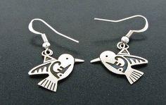 Sterling Silver Navajo Hummingbird Dangle Earrings by Robert Gene