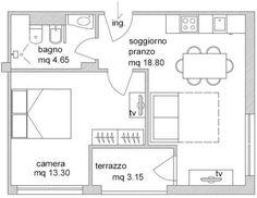 Risultati immagini per planimetria monolocale 40 mq