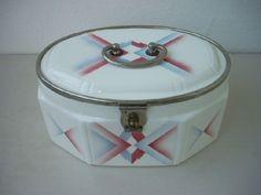 Große Deckeldose Keksdose Spritzdekor Metallmontierung Art Deco um 1930 TOP | eBay