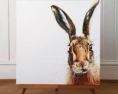 A limited edition canvas print of my lovely little Hare painting - hare art - hare painting - hare picture