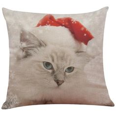 Vintage Christmas Cat Cushion Cover