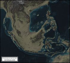 This map shows how the terrain may have appeared during the Last Glacial Maximum, around 21,000 years ago, when sea levels were approximately 125 meters (410 feet) below present. This map does not ...