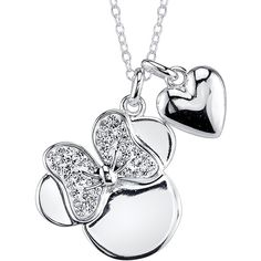 Disney Minnie Mouse Crystal Silver-Plated Pendant Necklace ($26) ❤ liked on Polyvore featuring jewelry, necklaces, cable chain necklace, heart pendant, heart pendant necklace, pendants & necklaces and crystal necklace