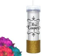 Personalized MRS. NAME bridal tumbler ____________________________________________________________________ ♥ 16oz (Double wall insulated!) with straw ♥ Clear travel tumbler with push on lid ♥ Please do not microwave ♥ Hand wash ♥ Glitter is sealed (twice!) so it will not flake ♥ Made with outdoor grade permanent vinyl. 6+ years with proper care. ♥ Please do not pick or scratch at the design. ♥ BPA Free Acrylic ____________________________________________________________________ PLEASE ADD…