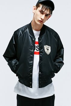 Vintage One-Of-A-Kind Mickey Bomber Jacket in Black http://uoeur.pe/uorenewal #UrbanOutfitters #Vintage