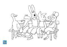Kleurplaat Kikker met vriendjes