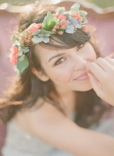 I've been wanting to do something with a flower wreath... but that would require softer makeup.