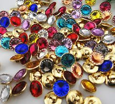sew on crystal buttons | ... -Mix-Copper-Gilded-Crystal-rhinestone-Buttons-sewing-Craft-13mm-NK229