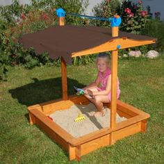 Exaco Trading Felix Sandbox - Felix Sandbox features an adjustable roof, which raises and lowers through the use of an integrated shoe and brake system and two safety bolts to keep the lid secure in the raised position. Sandbox Cover, Kids Sandbox, Sandbox Ideas, Sandbox With Canopy, Wooden Sandbox, Swing Set Accessories, Backyard Toys, Backyard Ideas, Outdoor Ideas